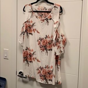 Tops - NEW Floral Print Shirt, Ruffles, Cold Shoulder.